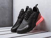 Мужские кроссовки Nike Air Max 270 Triple Black Hot Punch (Найк Аир Макс 270 черные с красной пяткой) 41-45