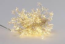 "Гирлянда-кластер 120 мини-LED: 1 линия 1,5 метра, с декором на лампочку ""Звезда "", цвет - тёплый белый,"
