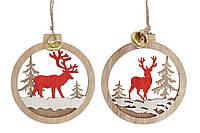 Новогоднее украшение-подвеска Шар с оленем 10см, цвет - натуральное дерево с красным, 2 вида