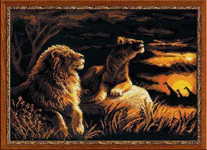 Набор для вышивки крестом Риолис 1142 «Львы в саванне»