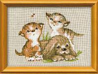 Набор для вышивки крестом Риолис 673 «Котята и щенок»