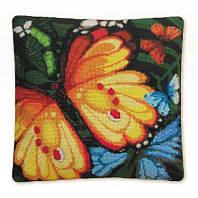 Набор для вышивки крестом Риолис 1119 Подушка «Экзотические бабочки»