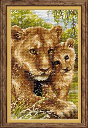 Набор для вышивки крестом Риолис 1262 «Львица с львёнком»