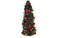 Елка новогодняя с декором из ягод и зеленых листьев, 48см