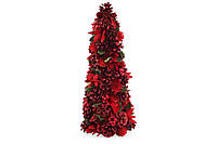 Елка новогодняя с декором из ягод и красных цветов, 48см