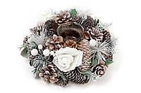 Новогодний подсвечник из веток, шишек и белых роз 22см со стеклянной колбой