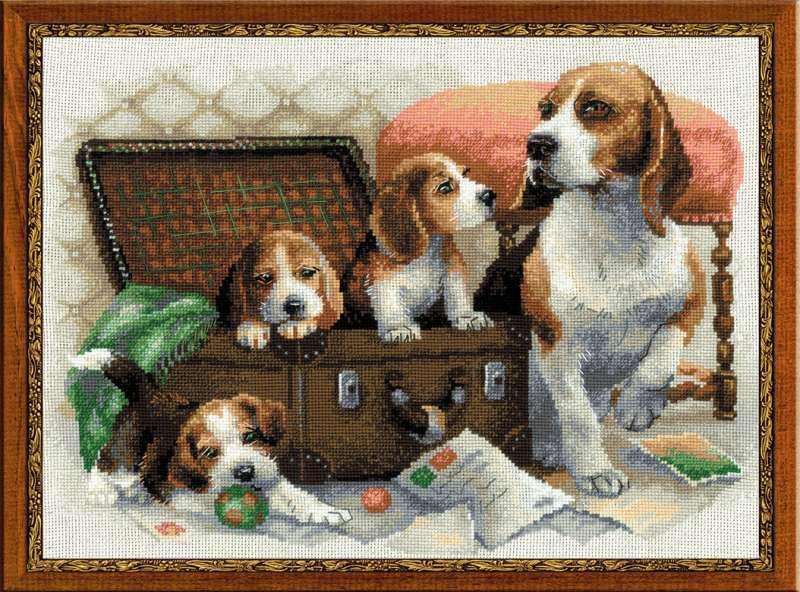 Набір для вишивки хрестом Ріоліс 1328 «Собаче сімейство»