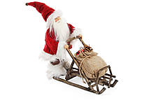 Новогодняя игрушка Санта на санях 34.5см, цвет - красный