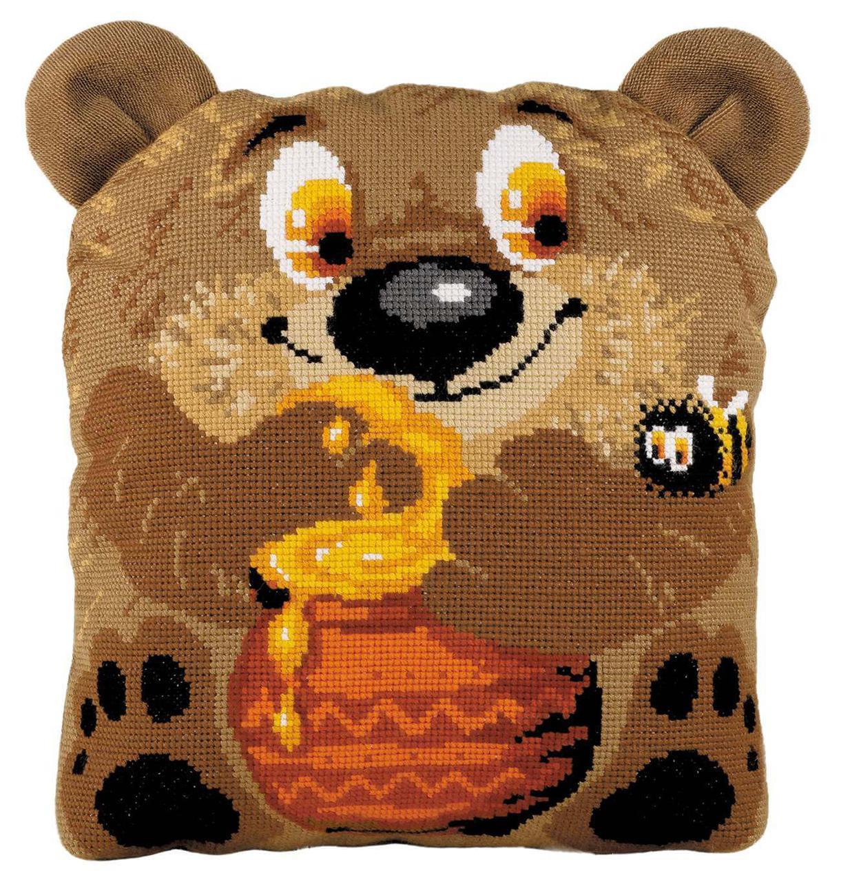 Набор для вышивки крестом Риолис 1590 Подушка «Медвежонок»