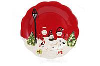 Тарелка керамическая декоративная Трио снеговиков 29см