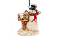 Подвесной декор Снеговик с почтовым ящиком 9см