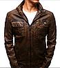 Мужская темная коричневая куртка эко-кожа  №1