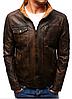 Мужская темно-коричневая куртка эко-кожа