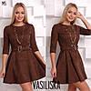 Женское замшевое платье с поясом в расцветках. ВВ-23-0818, фото 2