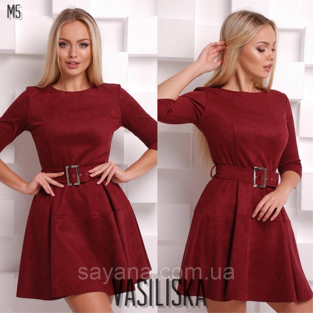 Женское замшевое платье с поясом в расцветках. ВВ-23-0818