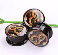"""Плаги """"Змії"""" для прикраси пірсингу вух (діаметр 4, 5мм).(ціна за 1шт), фото 1"""
