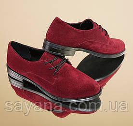Женские  туфли на шнуровке из кожи или замша в расцветках. ВВ-27-0818
