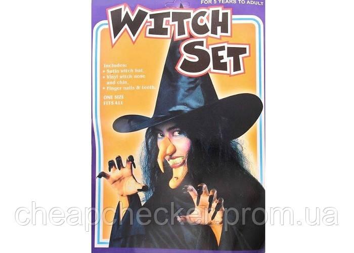 Карнавальный Набор Ведьмы Нос Зубы Ногти Шляпа Подбородок Прикол для Вечеринки Маскарад