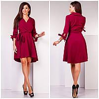 e98c1e8a6bd1939 Бордовое стрейч-котонове женское платье на запах с завязками на рукавах.  Арт-7166
