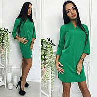 eacc4444538 Зеленое женское платье прямого кроя небольшим V-образным вырезом.  Арт-7168 59