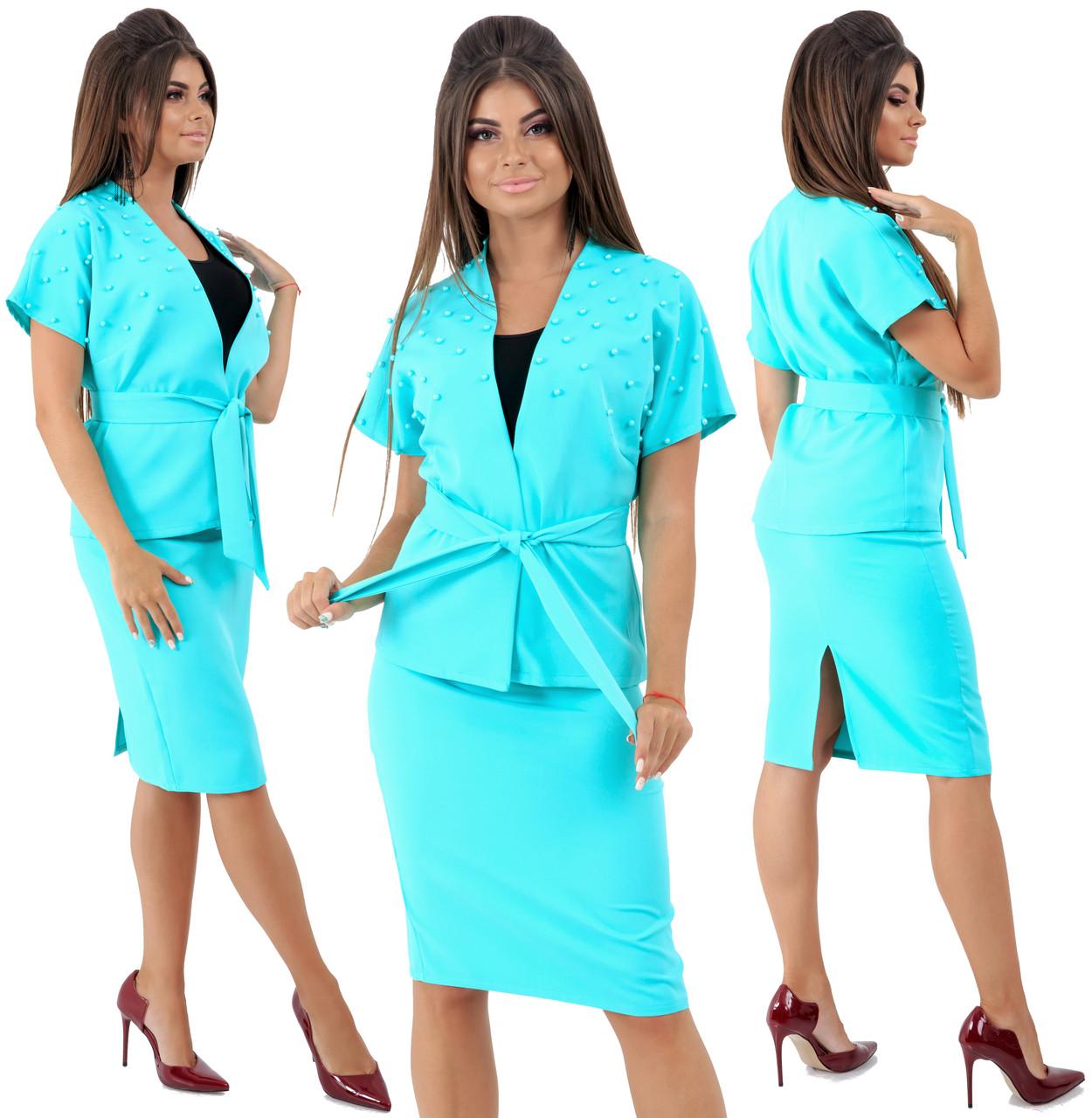 Комплект  пиджак на запах и юбка, декор бусинки/ 4 цвета  арт 6548-92