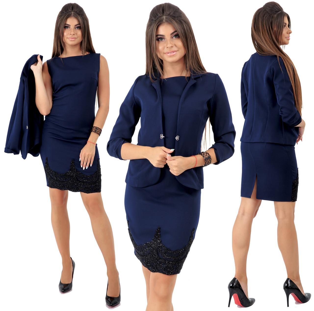 Платье с пиджаком  декорировано кружевом  / 4 цвета арт 6551-92