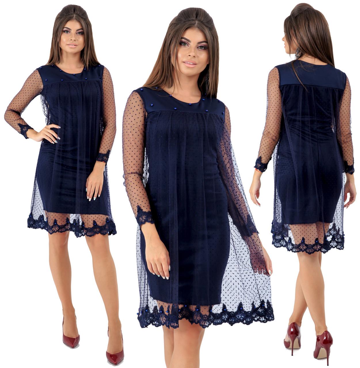 Платье  верхняя часть сетка в горошек с кружевом   / 4 цвета арт 6552-92