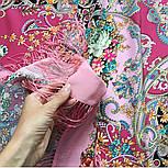 Кружевной 951-3, павлопосадский платок (шаль, крепдешин) шелковый с шелковой бахромой, фото 6