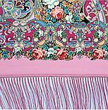 Кружевной 951-3, павлопосадский платок (шаль, крепдешин) шелковый с шелковой бахромой, фото 8