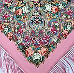 Кружевной 951-3, павлопосадский платок (шаль, крепдешин) шелковый с шелковой бахромой, фото 4