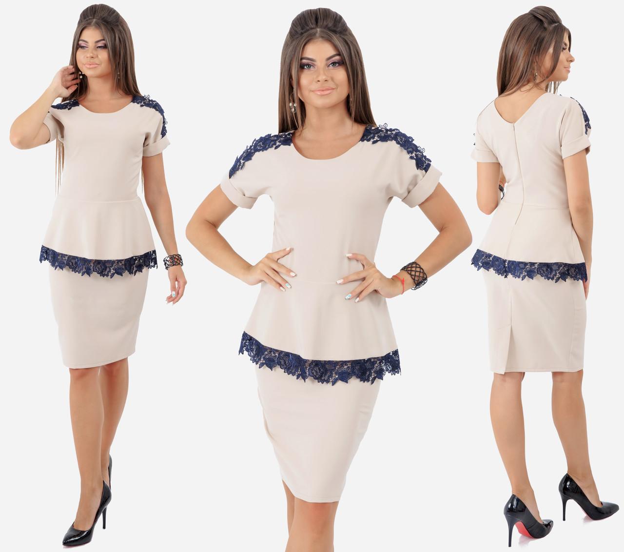 Платье  с баской, декорировано кружевом / 4 цвета арт 6560-92