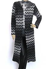 довгий вязаний кардиган з капюшоном , фото 3