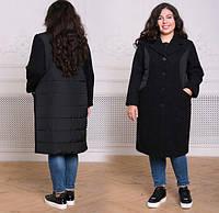 Женское комбинированное пальто, с 54-60 размер, фото 1