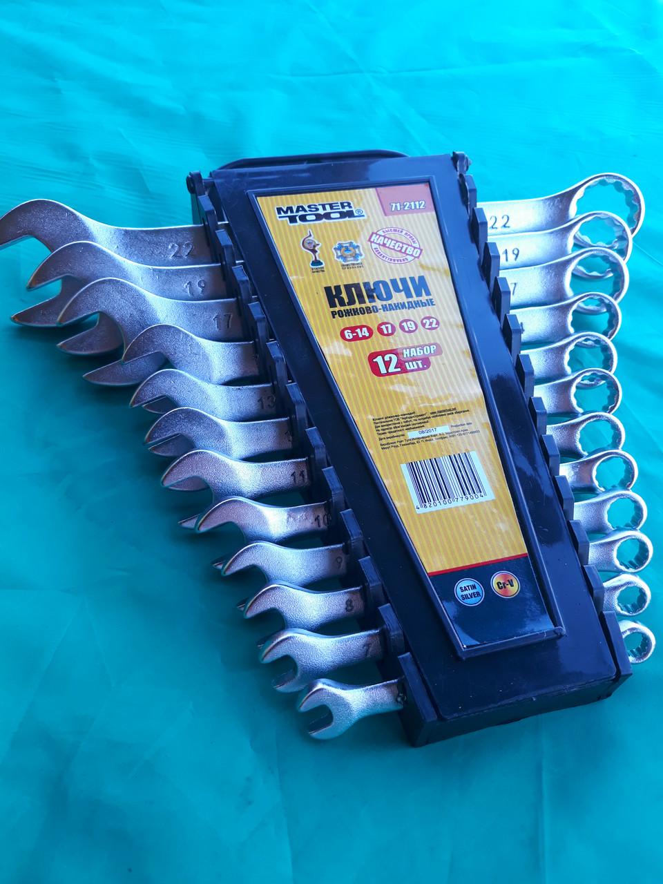 """Набор ключей (6-22мм). Рожково-накидные. """"Master Tool"""". (12 ключей)."""