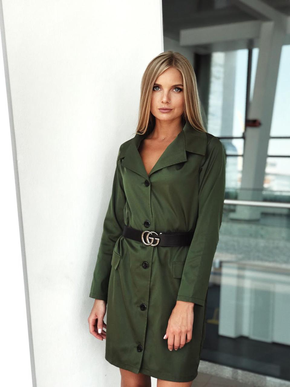 Стильное платье-пиджак с поясом (К23914)