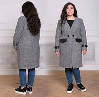 Пальто женское с кожаной отделкой, с 54-60 размер, фото 1