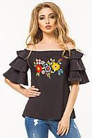 Черная блузка с воланами и вышивкой, фото 1