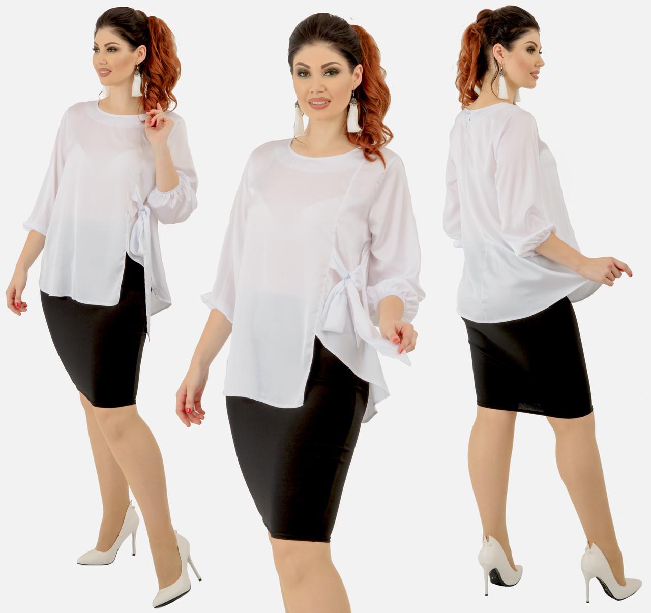 """Женский костюм """"Эльвира"""" большие размеры от 48 до 54 блузка и юбка карандаш цвет белый код 92/9007"""