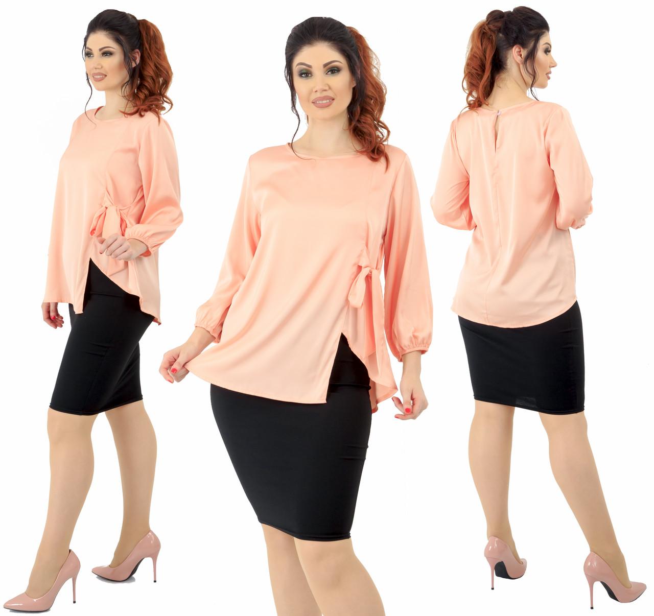 """Женский костюм """"Эльвира"""" большие размеры от 48 до 54 блузка и юбка карандаш  код 92/9009"""