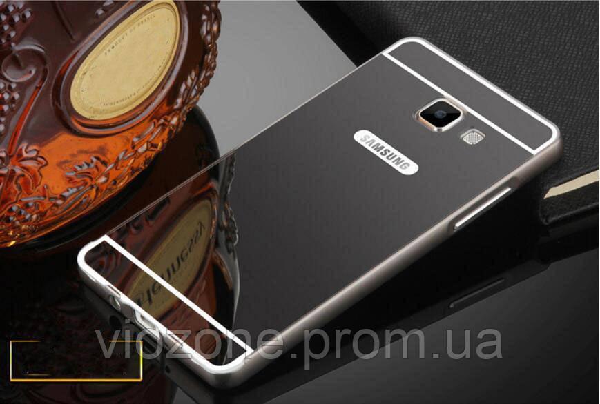 Зеркальный Чехол/Бампер для Samsung Galaxy A3 2017 / A320, Чёрный (Металлический)