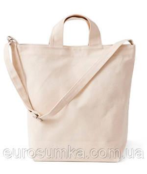 Коттоновая сумка с карманом от 100 шт. Печать логотипа.