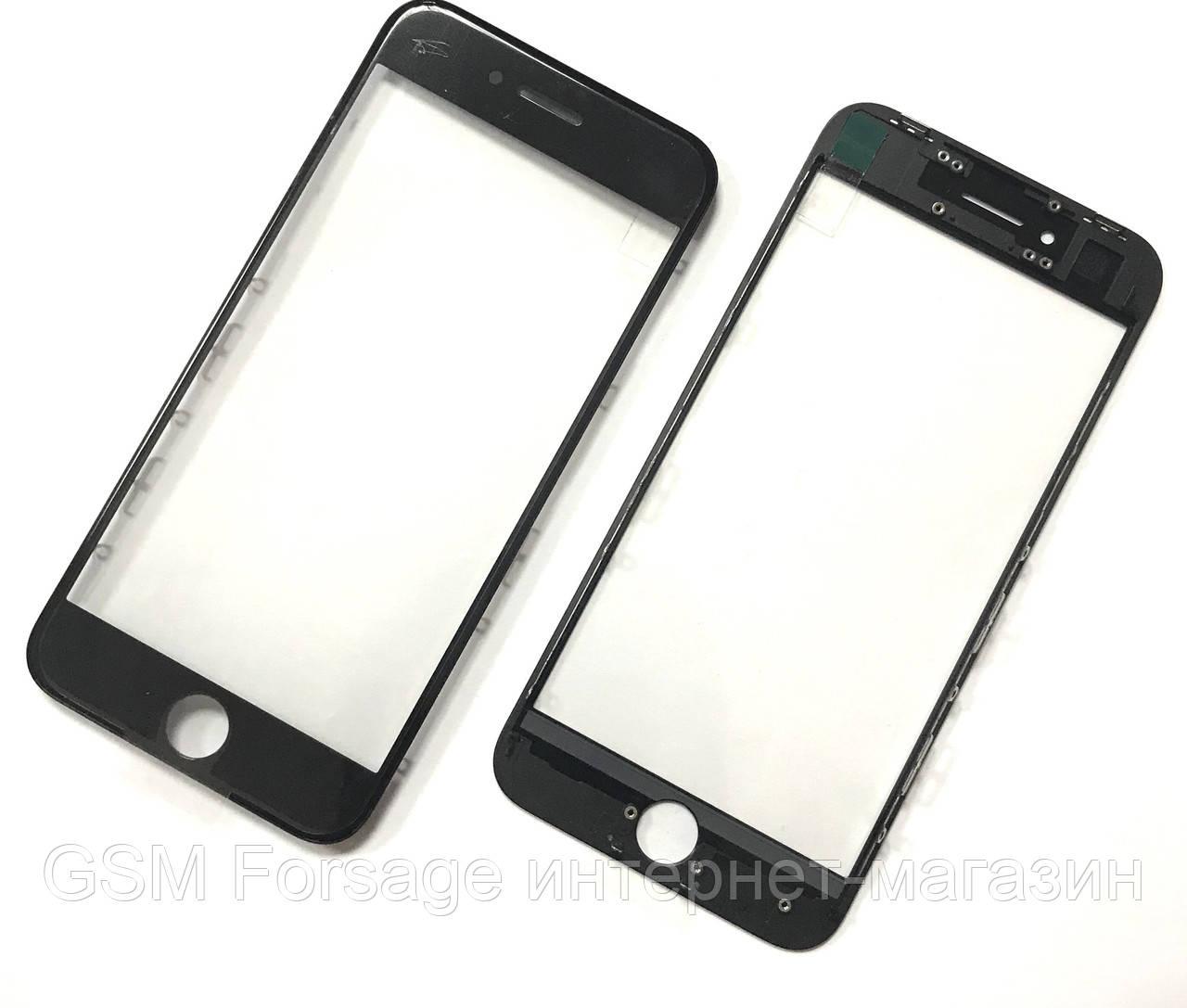 """Стекло дисплея iPhone 8 (4.7"""") для переклейки с рамкой и OCA Black"""