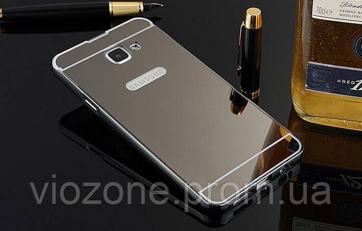 Зеркальный Чехол/Бампер для Samsung Galaxy A5 2017 / A520, Чёрный (Металлический)
