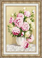 Набор для вышивки крестом Золотое Руно ЛЦ-050 «Розовые пионы»