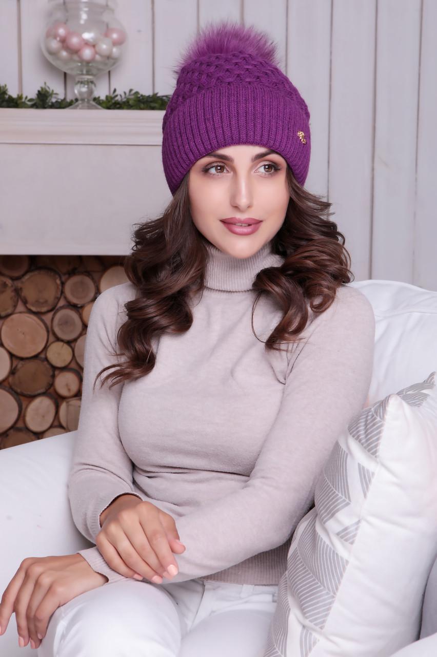 Женская шапка «Лина» с цветным песцовым помпоном