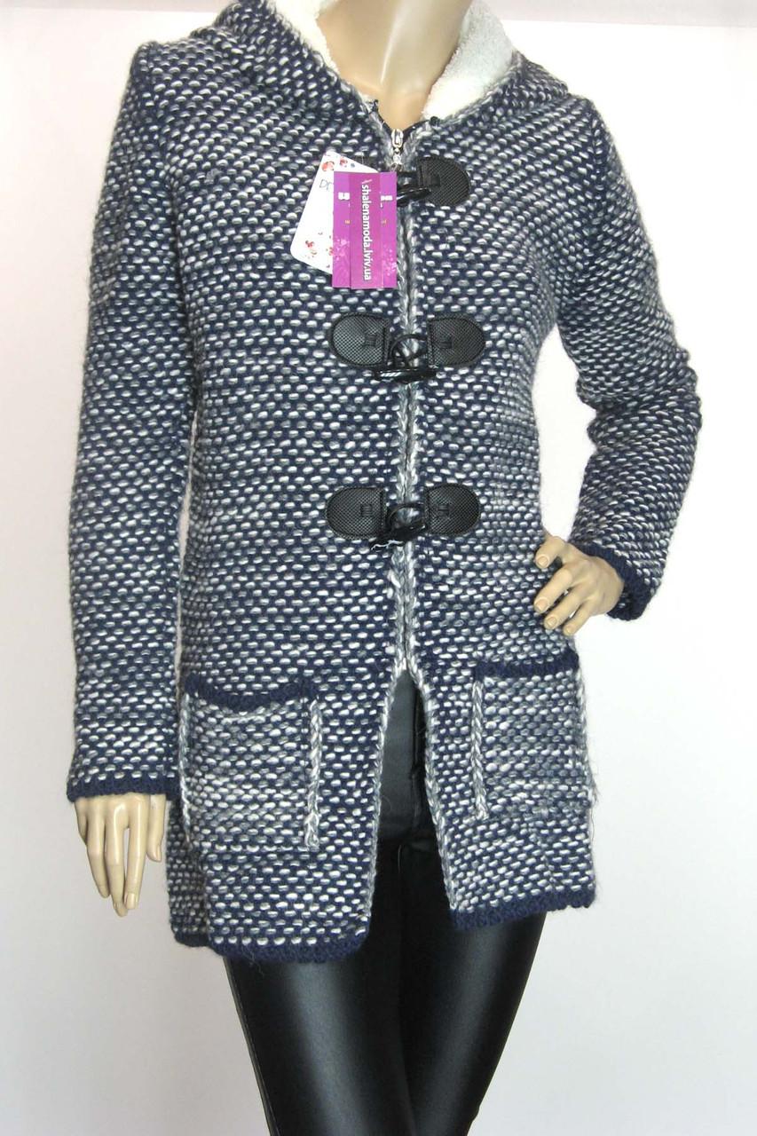 Вязаний жіночий  кардиган-пальто з капюшоном