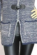 Вязаний жіночий  кардиган-пальто з капюшоном , фото 3