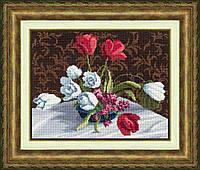 Набор для вышивки крестом Золотое Руно М-005 «Белые тюльпаны»