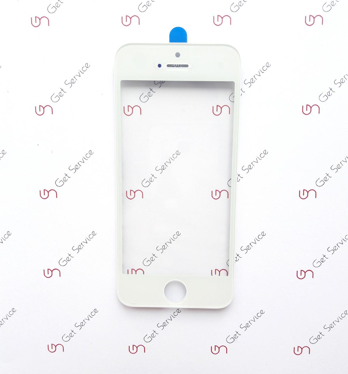 Стекло корпуса для Apple iPhone 5, с рамкой, с ОСА пленкой Белое/White