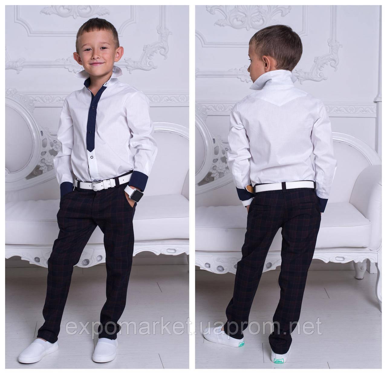 Рубашка для мальчиков белая 100% хлопок с 8 до 13 лет